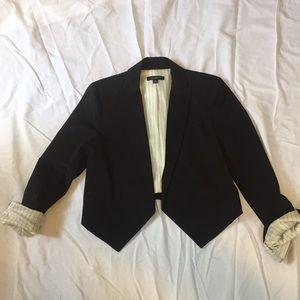 Black cropped tuxedo blazer